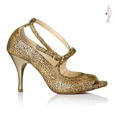 mono złote buty do tanca zabudowane obejmujace